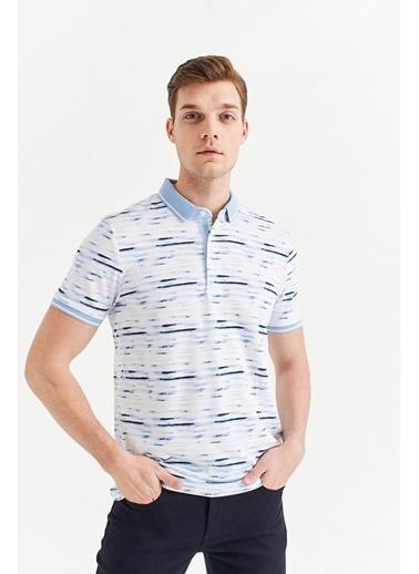 Avva Erkek  Polo Yaka Baskılı Tişört A01Y1001 Mavi